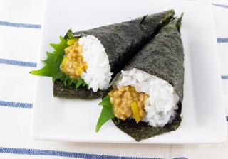 簡単!?沖縄豚肉みそ(うま辛)と納豆の手巻き寿司
