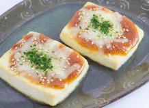 島豆腐の豚肉みそチーズ焼き