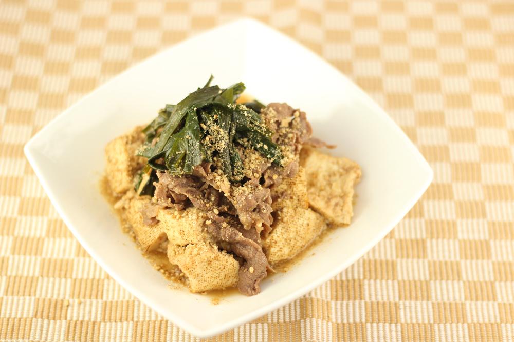 ニラみそ肉豆腐