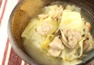 キャベツと鶏肉のバター塩ぽん酢煮