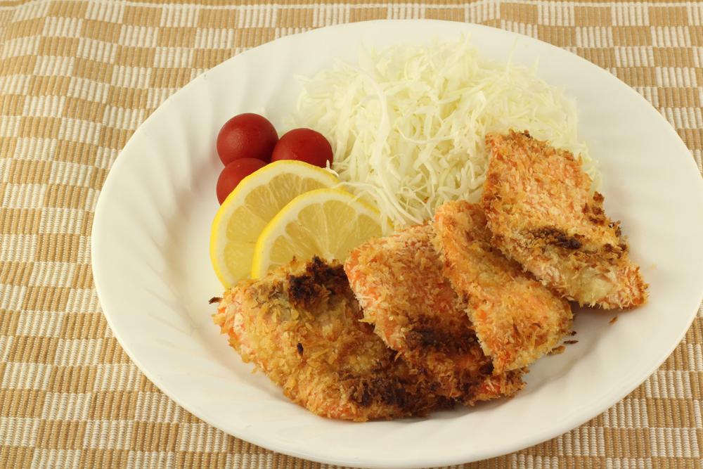 鮭のシークヮーサーこしょうマヨのパン粉焼き(2~3人前)